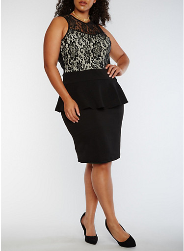 Plus Size Sleeveless Lace Peplum Dress,BLACK,large