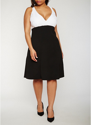 Plus Size V Neck Skater Dress with Lace Yoke,WHT-BLK,large