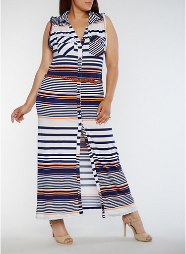 Plus Size Striped Shirt Dress with Belt,NAVY/CORAL,large