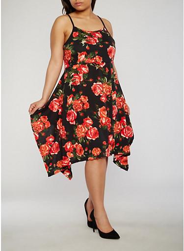 Plus Size Floral Tank Dress with Sharkbite Hem,BLACK,large