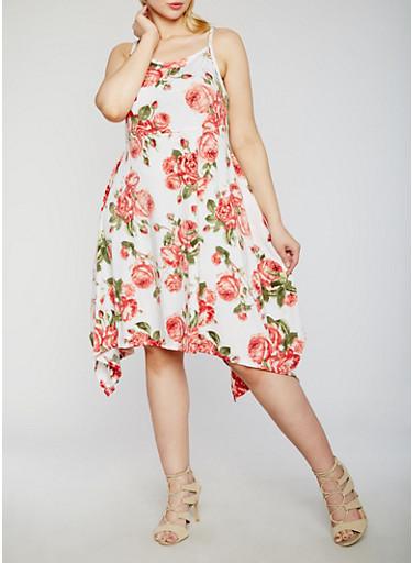 Plus Size Floral Tank Dress with Sharkbite Hem,IVORY,large