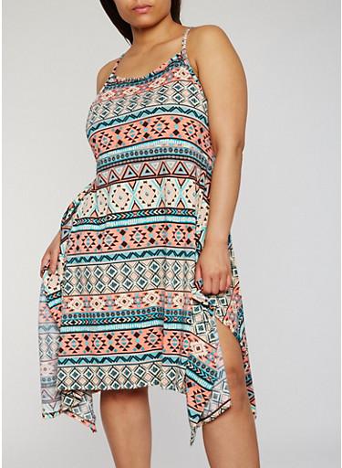 Plus Size Printed Asymmetrical Tank Dress,CORAL/MINT,large