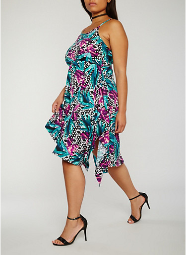 Plus Size Sleeveless Printed Sharkbite Dress,GREEN,large