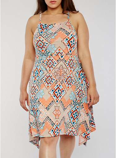 Plus Size Sleeveless Printed Dress with Asymmetrical Hem,CORAL/MINT,large