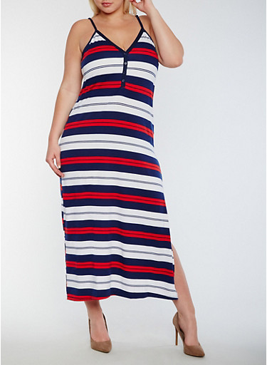 Plus Size Striped Maxi Dress with Side Slit,RED/NAVY/WHITE,large