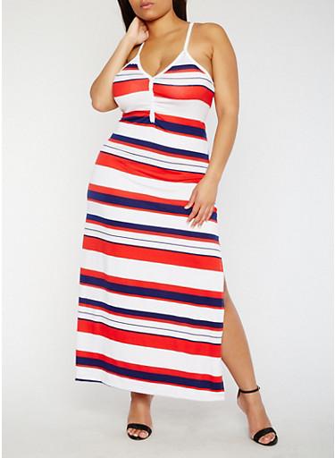 Plus Size Striped V Neck Maxi Dress,WHITE,large