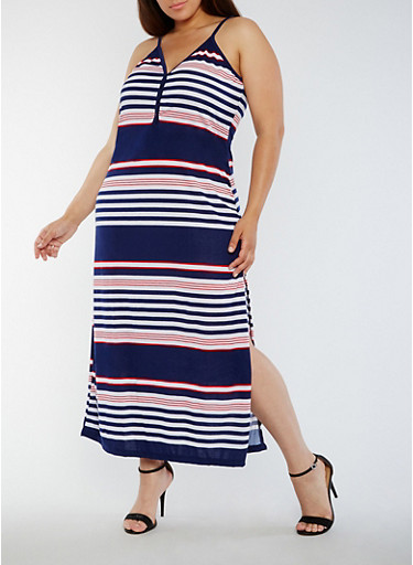 Plus Size Striped Button Detail Maxi Dress,NAVY,large