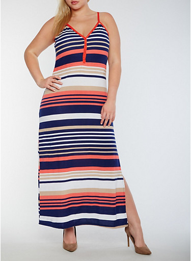 Plus Size Striped V Neck Maxi Dress,CORAL/TAUPE,large
