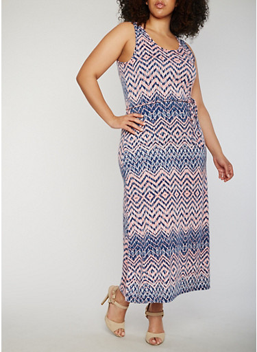 Plus Size Printed Maxi Dress with Tie Waist,NAVY/PEACH,large