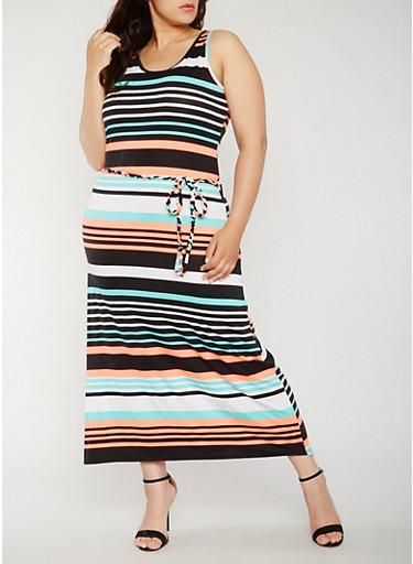 Plus Size Striped Maxi Tank Dress,CORAL,large
