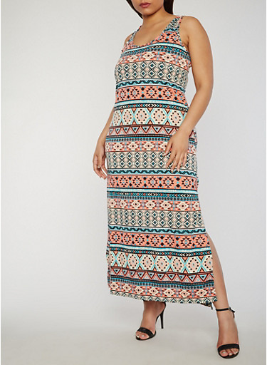 Plus Size Printed Scoop Neck Maxi Tank Dress,PEACH/GRN,large