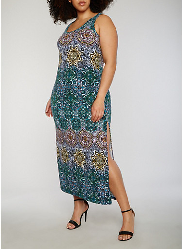 Plus Size Printed Midi Dress with High Side Slit,BLUE,large