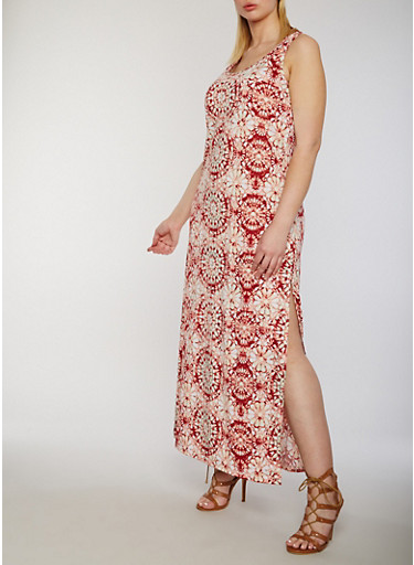 Plus Size Sleeveless Printed Maxi Dress,RUST,large