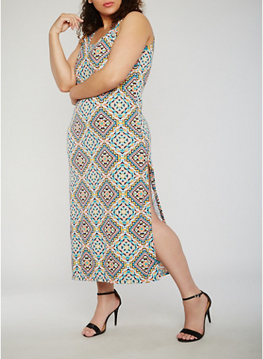 Plus Size Printed Maxi Tank Dress with Side Slit,CORAL/JADE,large