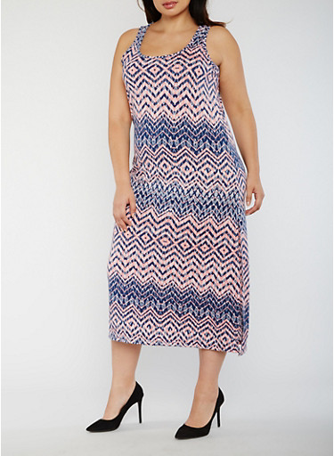 Plus Size Printed Maxi Tank Dress,NAVY/PEACH,large