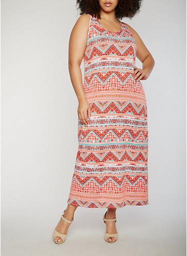 Plus Size Sleeveless Printed Maxi Dress,RUST/GREEN,large