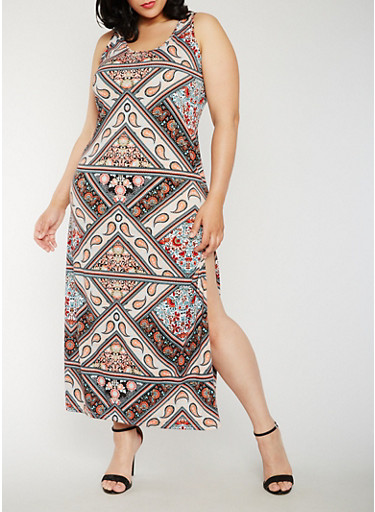 Plus Size Printed Maxi Dress with Side Slit,CORAL,large