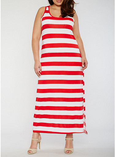 Plus Size Scoop Neck Striped Maxi Dress,WHITE/RED,large