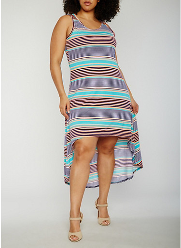 Plus Size Striped High Low Tank Dress,NAVY/AQUA/PEACH,large