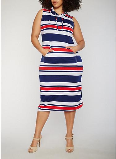 Plus Size Striped Sleeveless Hooded Midi Dress,NAVY,large