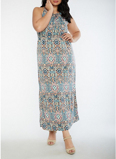 Plus Size Printed Maxi Dress with Keyhole,BLUE,large