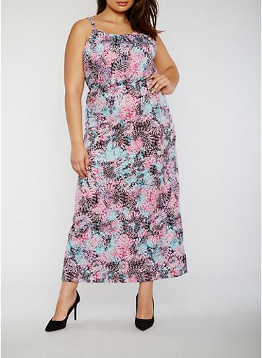 Plus Size Printed Maxi Dress with Keyhole Back,FUCHSIA,large