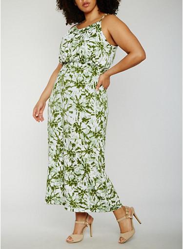 Plus Size Sleeveless Tie Dye Maxi Dress,OLIVE,large
