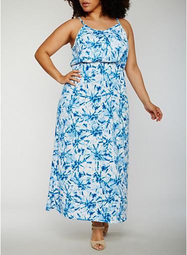 Plus Size Sleeveless Tie Dye Maxi Dress,BLUE,large
