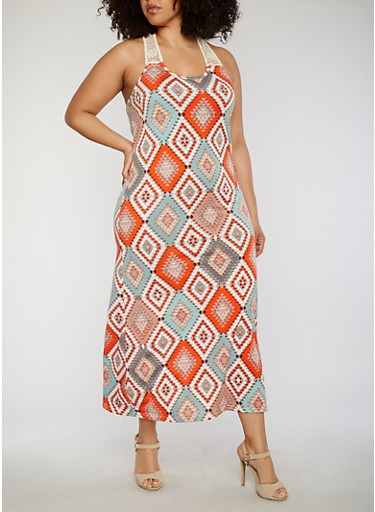 Plus Size Printed Crotchet Racerback Maxi Dress,RED/GRAY,large