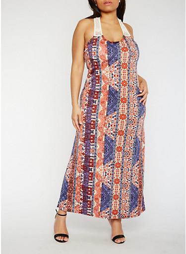 Plus Size Printed Crochet Racerback Maxi Dress,RUST/DENIM,large