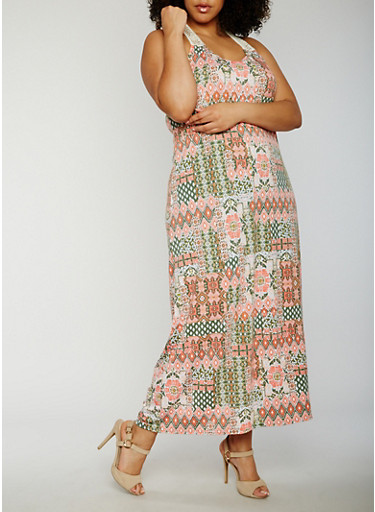 Plus Size Printed Maxi Racerback Tank Dress,CORAL/GREEN,large
