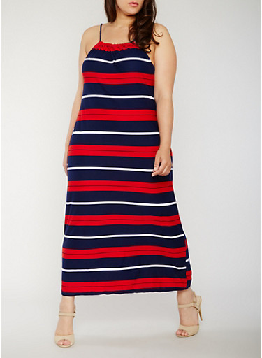 Plus Size Sleeveless Americana Maxi Dress,NAVY/RED,large