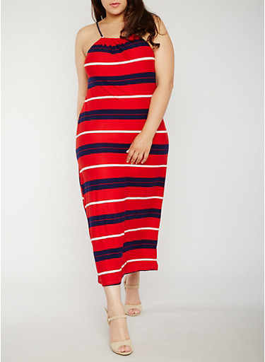 Plus Size Sleeveless Americana Maxi Dress,RED/NAVY,large