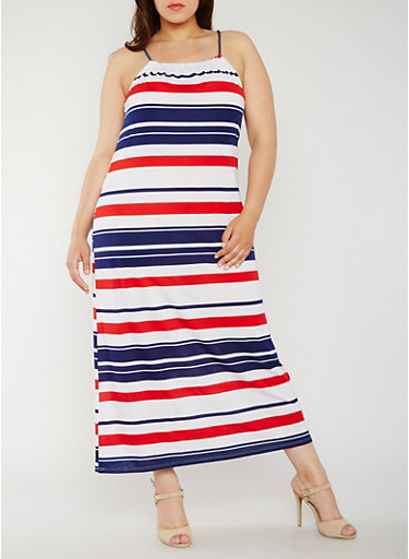 Plus Size Americana Striped Maxi Dress,WHITE/NAVY/RED,large