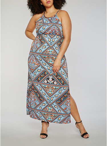 Plus Size Printed Maxi Dress with Medal Collar Detail,ROYAL/RUST,large