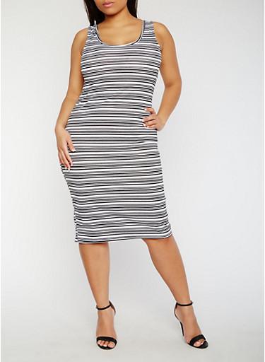 Plus Size Striped Rib Knit Tank Dress,BLACK/WHITE,large