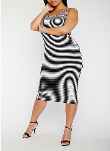 Plus Size Striped Rib Knit Tank Dress,WHITE/NAVY,large