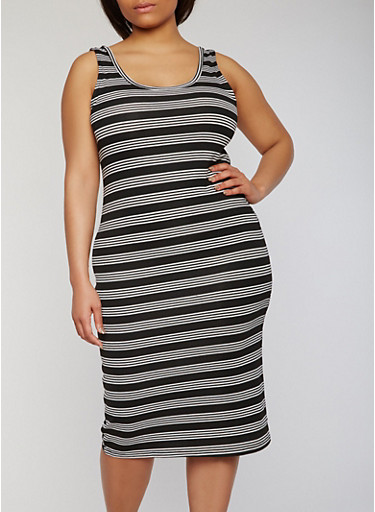 Plus Size Striped Mid Length Tank Dress,BLACK/WHITE,large