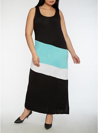 Plus Size Color Block Maxi Dress,JADE,large