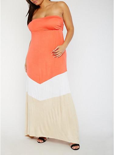 Plus Size Strapless Color Block Maxi Dress,CORAL/WHT/KHAKI,large