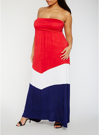 Plus Size Strapless Color Block Maxi Dress,RED/WHT/NVY,large