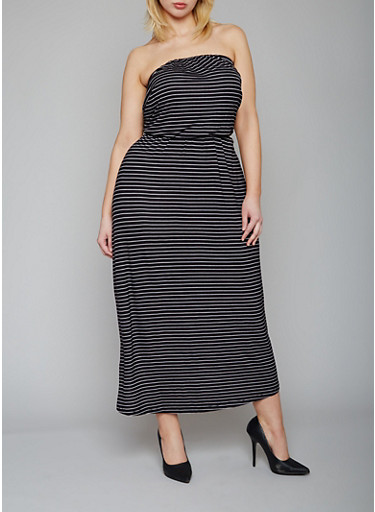Plus Size Strapless Striped Dress with Belt,BLACK/WHITE,large