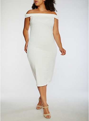 Plus Size Off the Shoulder Midi Dress,WHITE,large