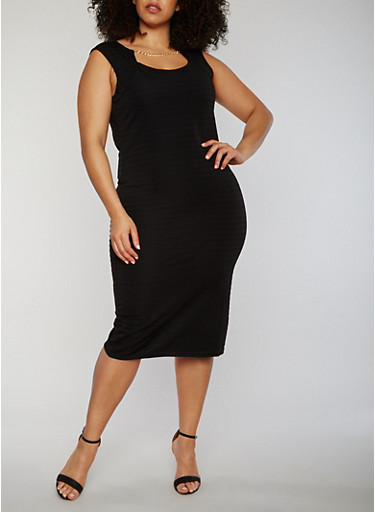 Plus Size Sleeveless Midi Dress with Chain Link Neckline Detail,BLACK,large