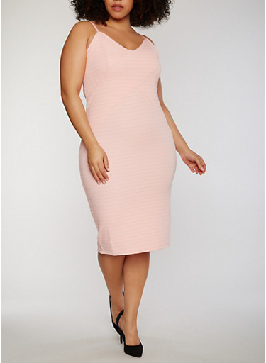 Plus Size Spaghetti Strap Bandage Dress,DUSTY ROSE,large