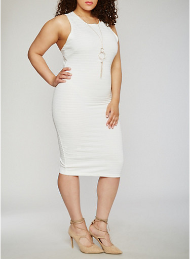 Plus Size Sleeveless Bandage Dress with Necklace,IVORY,large