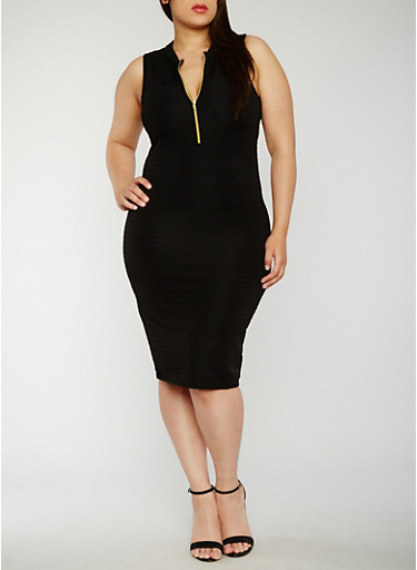 Plus Size Sleeveless Half Zip Bandage Dress,BLACK,large