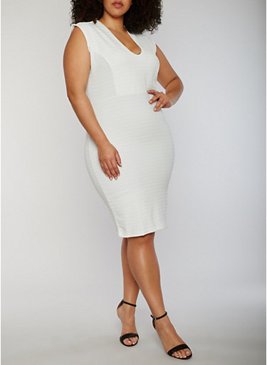Plus Size V Neck Mid Length Bandage Dress,IVORY,large