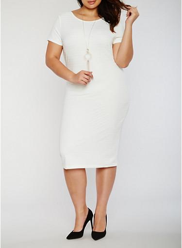 Plus Size Midi Bandage Dress with Necklace,IVORY,large