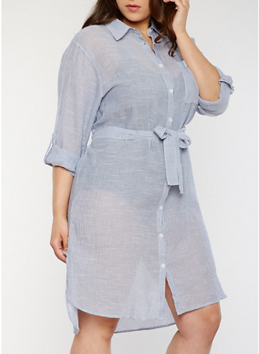 Plus Size Marled Tab Sleeve Shirt Dress with Belt,BLUE/WHITE,large
